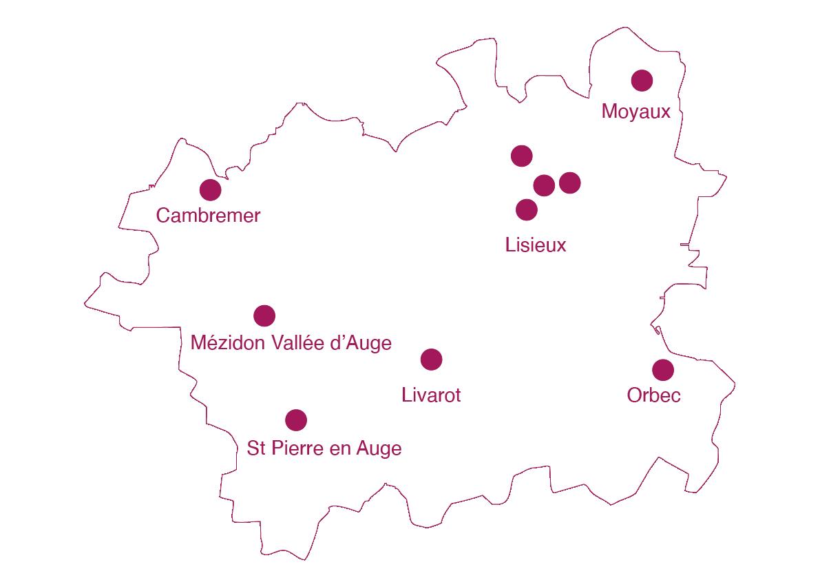 carte missions locales de Lisieux en Normandie